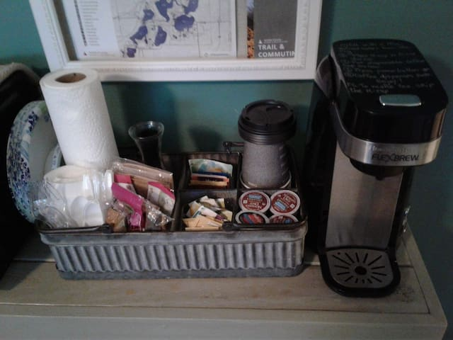 Coffee,  tea, popcorn.