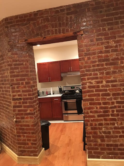 Separated of kitchen and living room, beautiful exposed brick