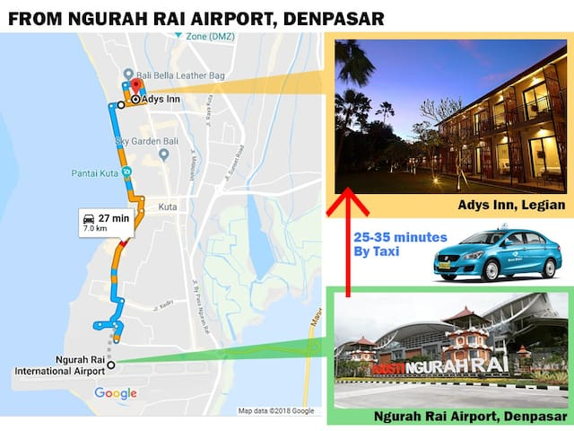Taxi is the best choice transportation from Denpasar airport.