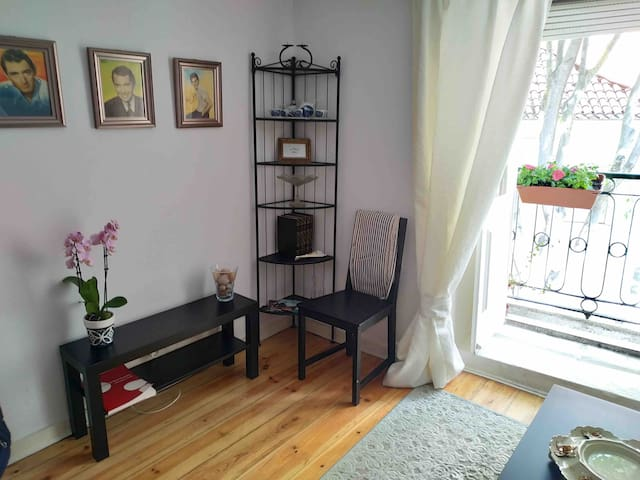 Living room with small balcony