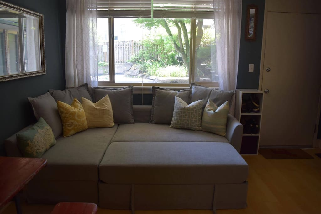 The sofa pulls out into a very comfortable queen size bed.