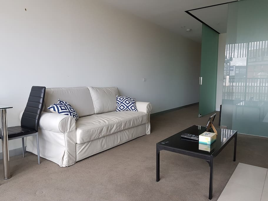 Comfortable living area with fold out sofa bed