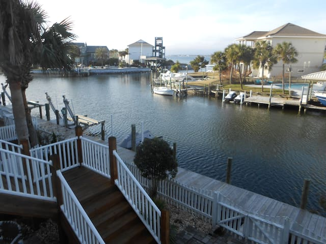 Channel and Pensacola Sound in back of house