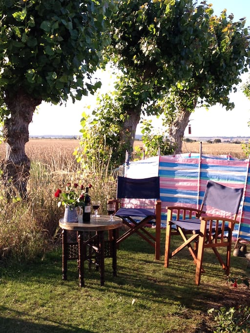 Part of the garden, drink watching the sun set on the horizon, uninterrupted views over Romney Marsh.