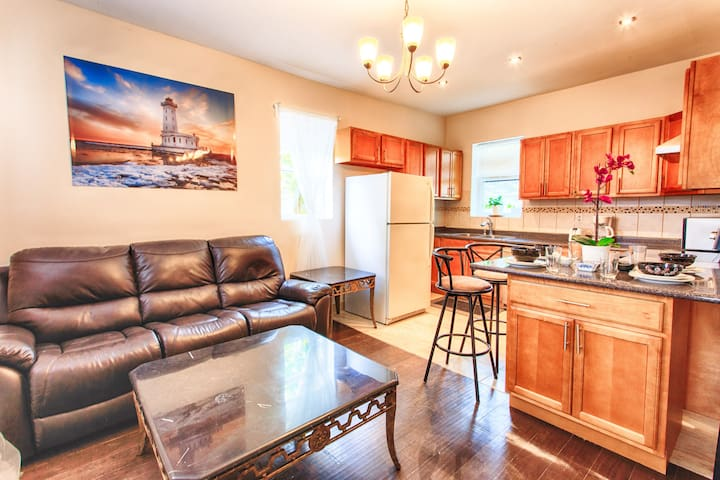Combined living, eating, kitchen area.  Great place to relax over dinner or drinks.