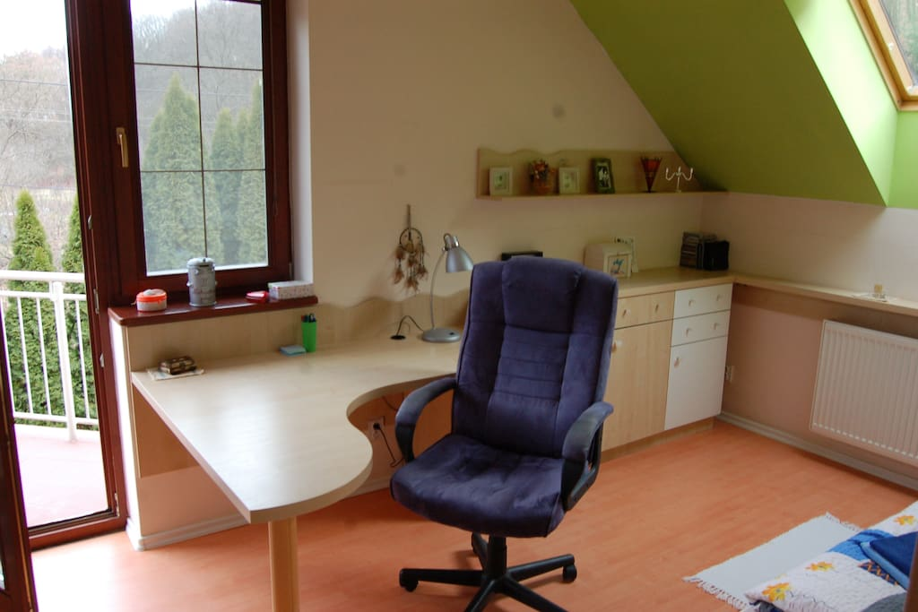 working desk and balcony