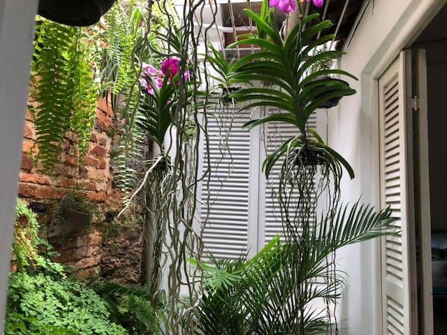 Pequeno e discreto com janelas para o terraço