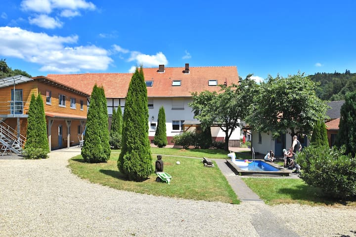 Holiday farm situated next to the Kellerwald-Edersee national park with a sunbathing lawn