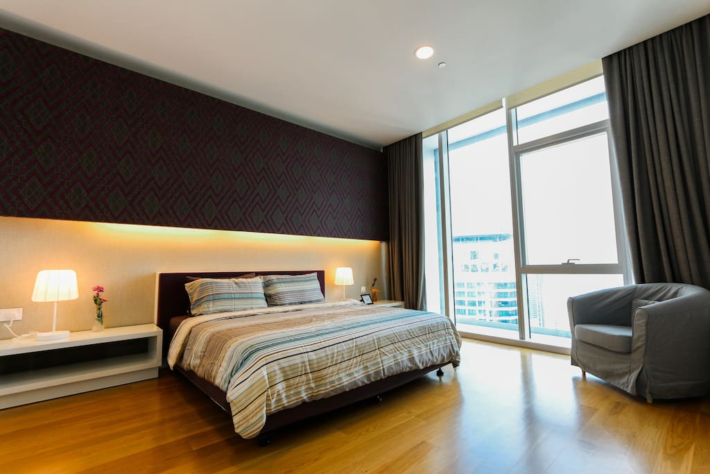 Spacious Master bedroom with king size bed and KLCC view