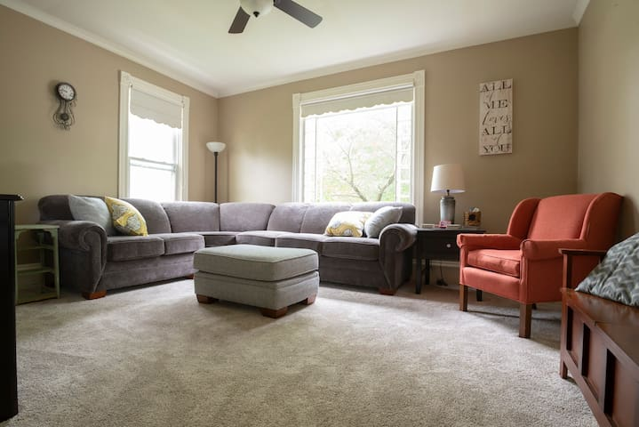 The living room provides enough space to enjoy a movie, Netflix, Wii, or simply each other!