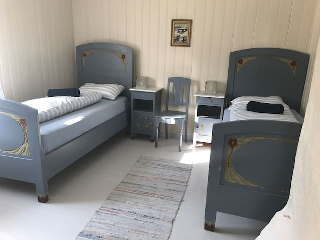 The blue room has two comfortable single beds. Ground floor.