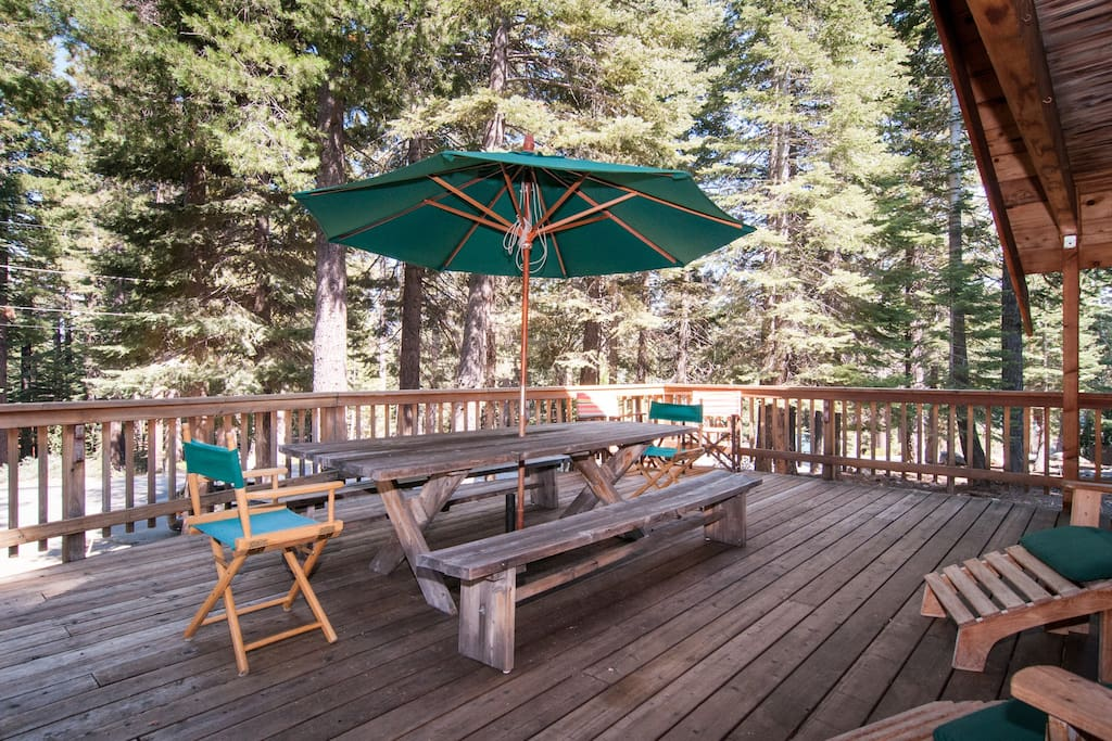lovely front deck with plenty of seating to enjoy the Tahoe life!