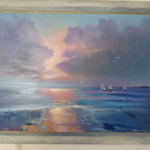 "Art in Flamingo Royale. ""A Break in the Clouds"" Artist Suzanne Peck."