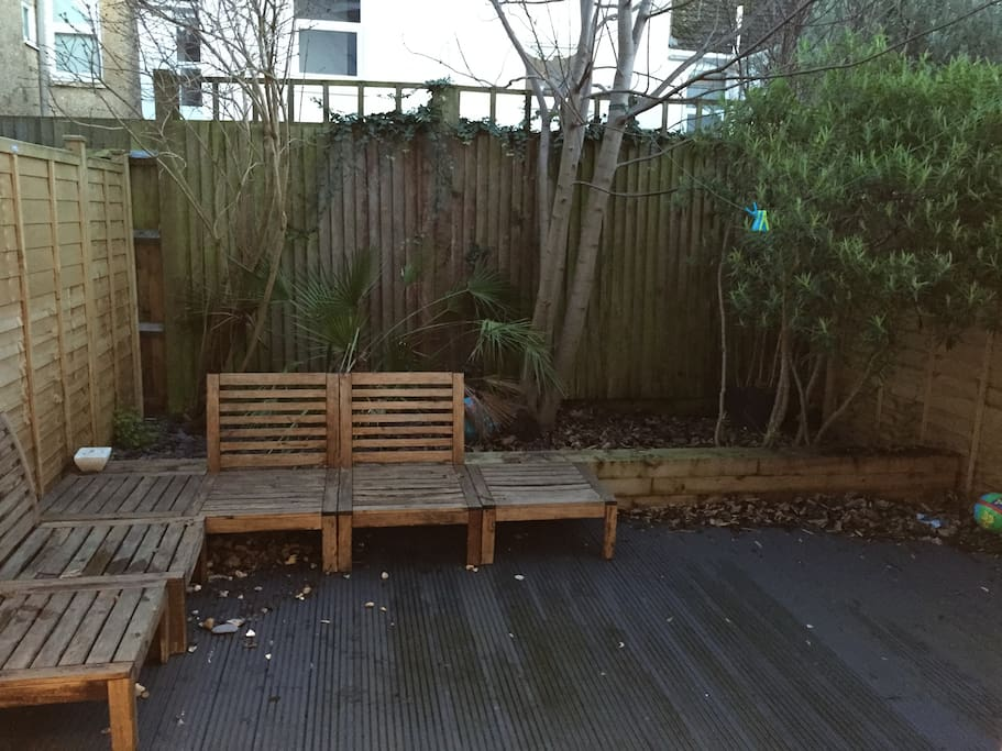 Back garden features decking and trees, seating area and bbq for relaxing (Picture taken Jan 2016 so leaves have fallen etc)