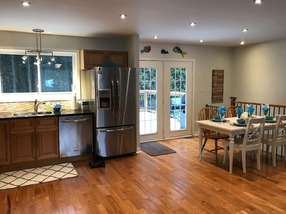 Spacious kitchen to cook your meals with easy access to bbq on the back deck.