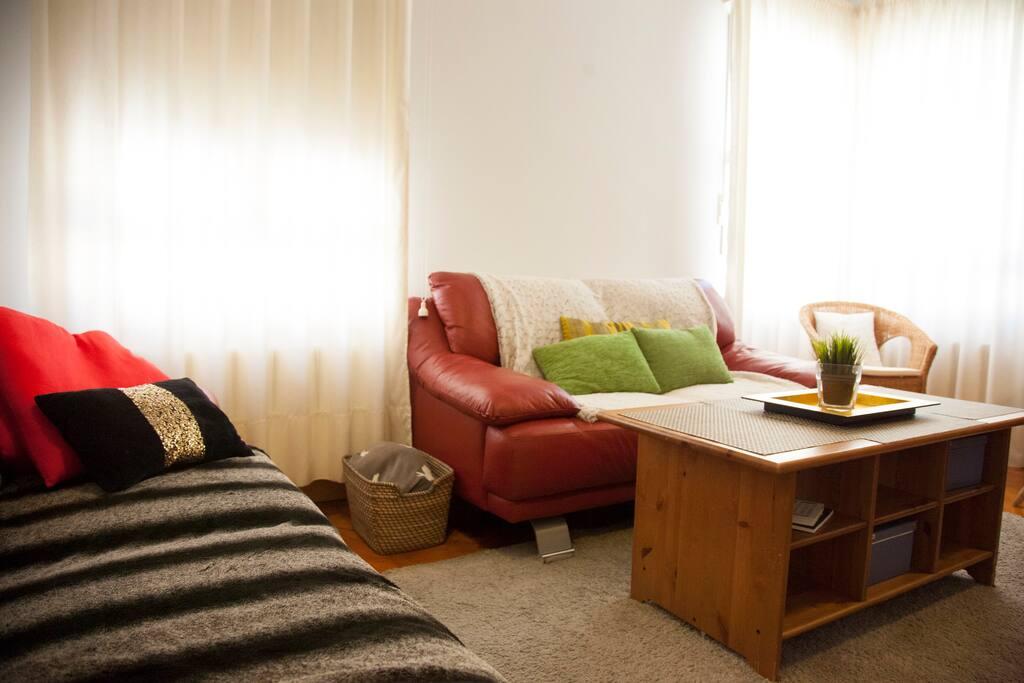 Salón grande con sofás de piel para 6 personas