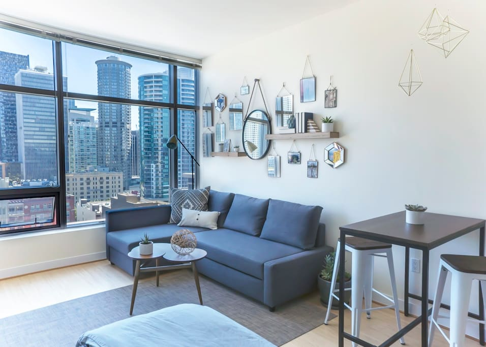 Modern studio with contemporary accents throughout.