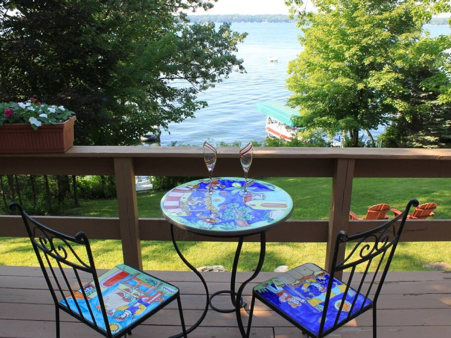Great deck for entertaining, with a  an amazing view of the lake