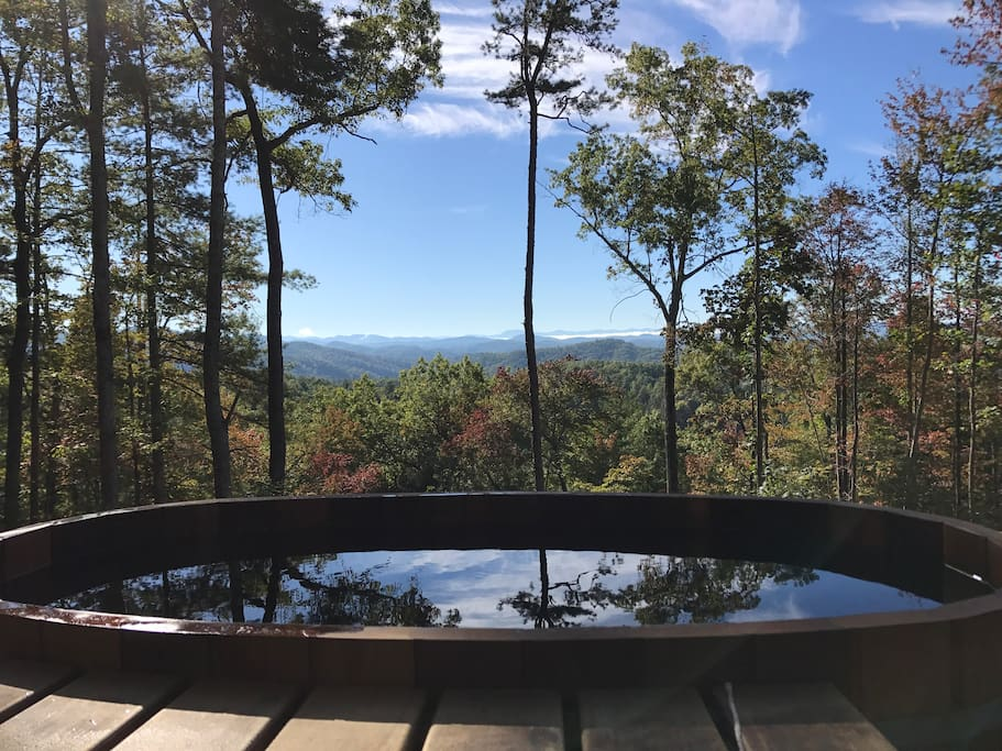 Fabulous outdoor Japanese cedar soaking tub - heated by a wood-fire stove -  and magnificent views!