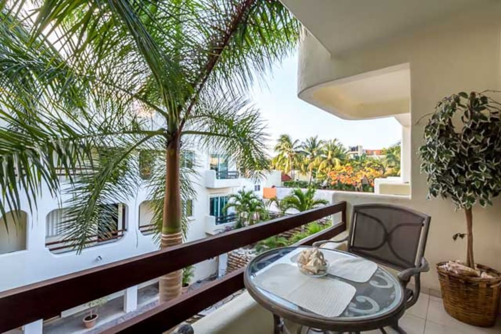 Access the balcony from the living room or master bedroom
