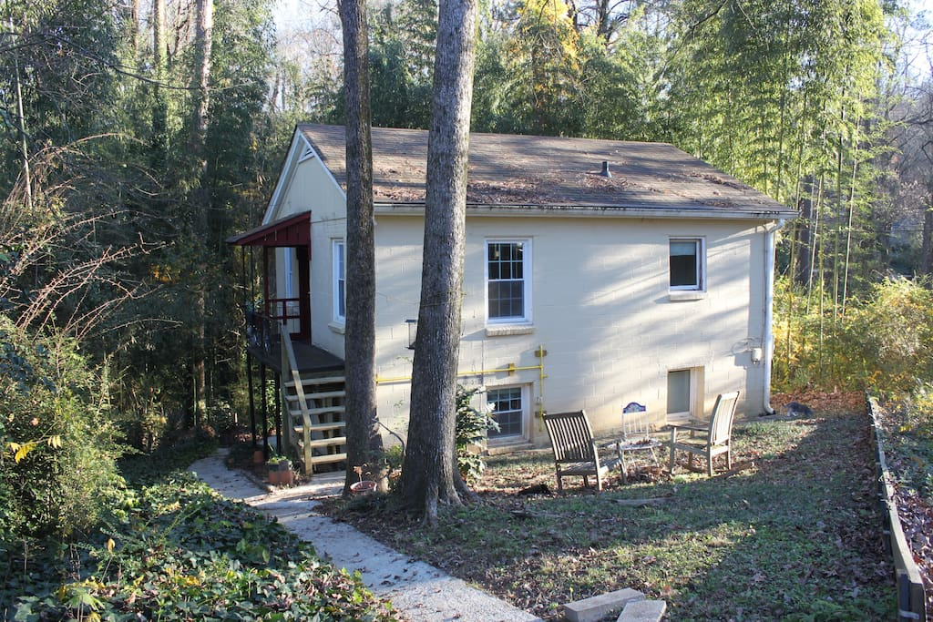 My apartment is the upper-level floor of this cottage, tucked behind the main house on the property. It's a great retreat for your short stay in North Decatur for Emory or the CDC.