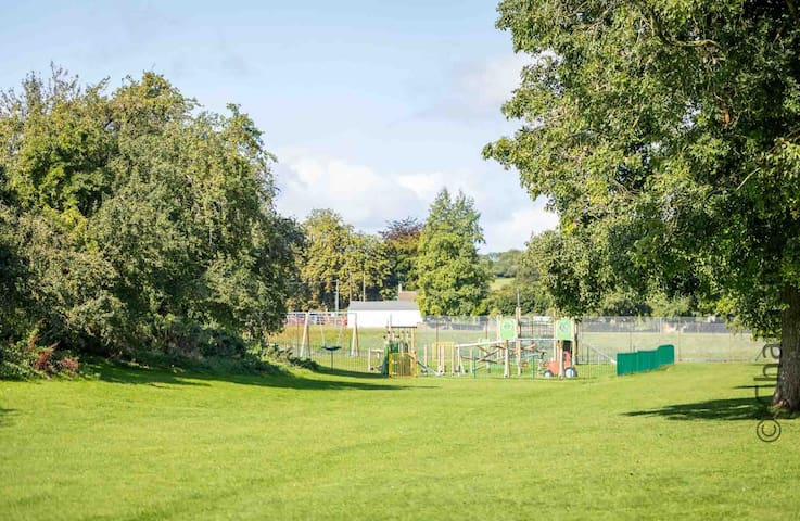 The playing fields and playground are ideal for families with children