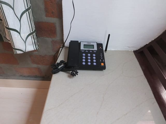 Land phone.  Separate plug in high speed 4 G wi fi from Asianet