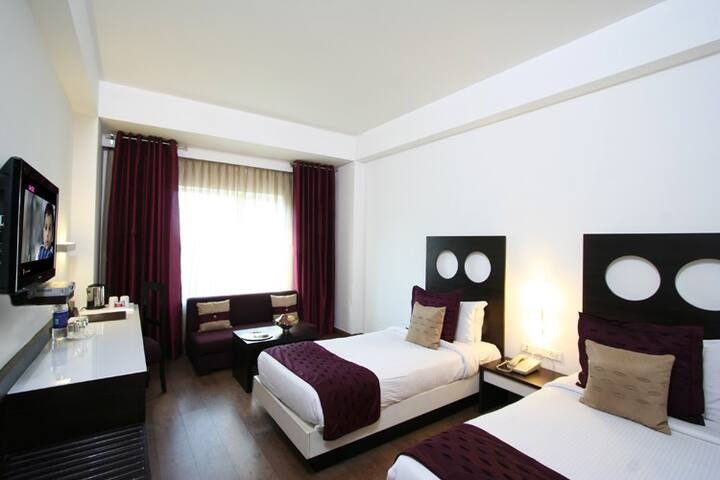 The rooms are available both with double or twin beds