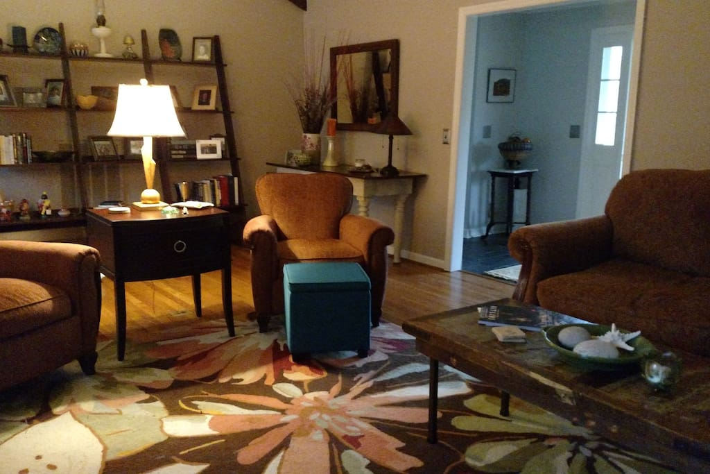 Access to living room, TV and work space.