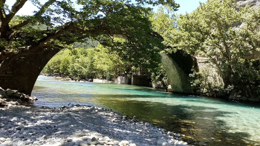 2 single beds with breakfast Vikos Gorge Klidonia.