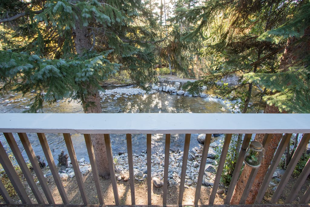 The private back deck overlooking the creek is a great place to relax and enjoy coffee in the morning, or hang out and watch the stars at night.