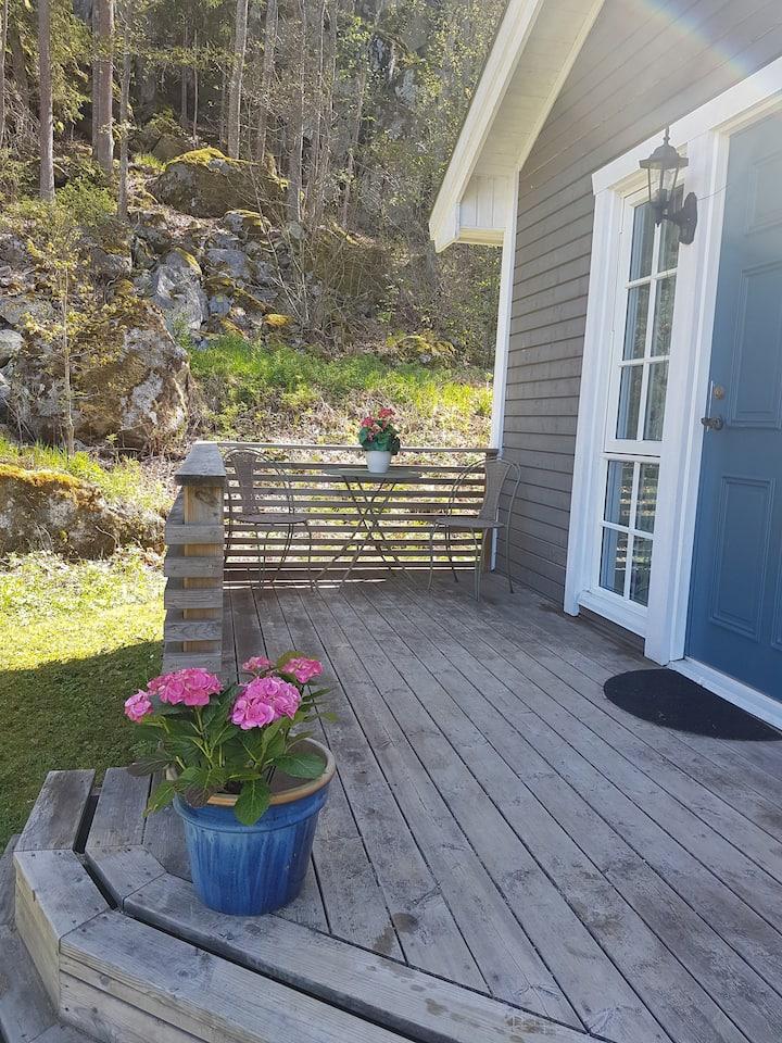 Modern/naturnära stuga i Knaggelid