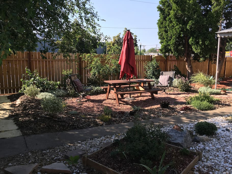 Backyard eating area