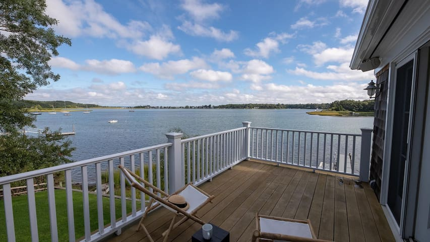 New Listing: Modern, Beach-Style Home on the Harbor w/ Water Views Throughout, Private Dock