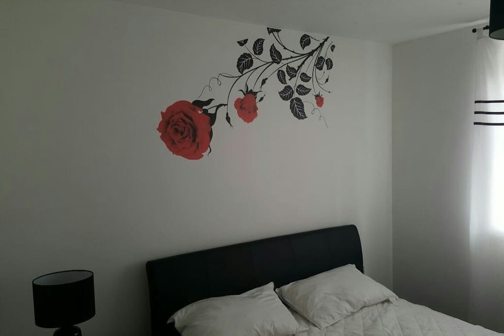 Mural over the bed.