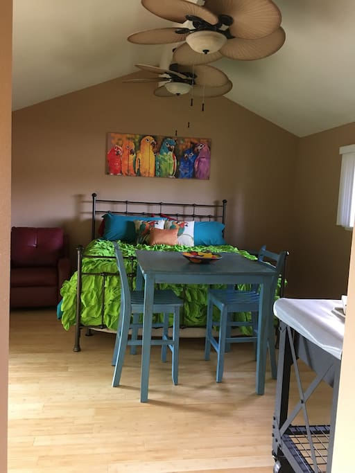 California King bed, Recliner, Pub Table and Stools, 2 Ceiling Fans