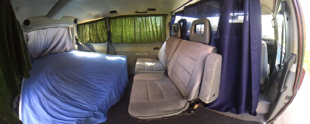 Vanlife inside a Volkswagen Bus (Ruby)