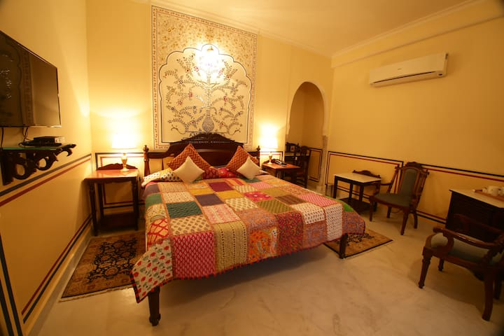 Exotic room in Heritage Haveli with a great view