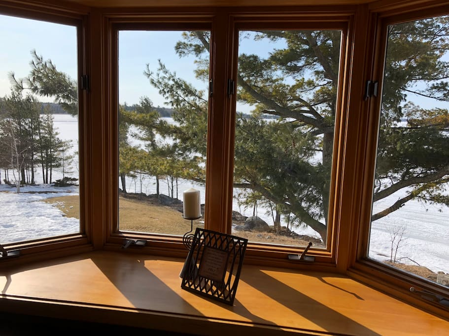 Bay window view is from dining room looking at lake