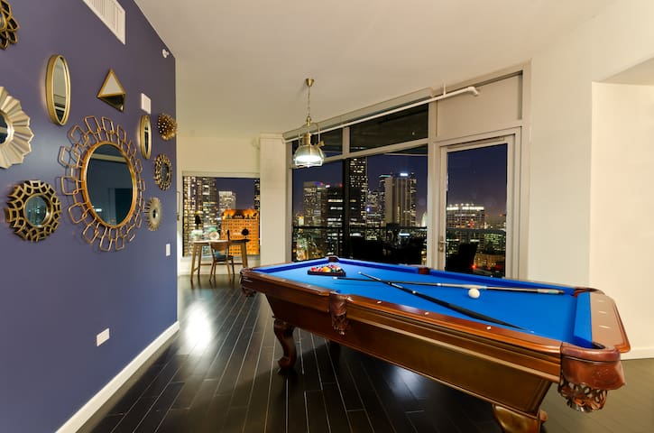 High end pool table in the suite  and custom high end decor