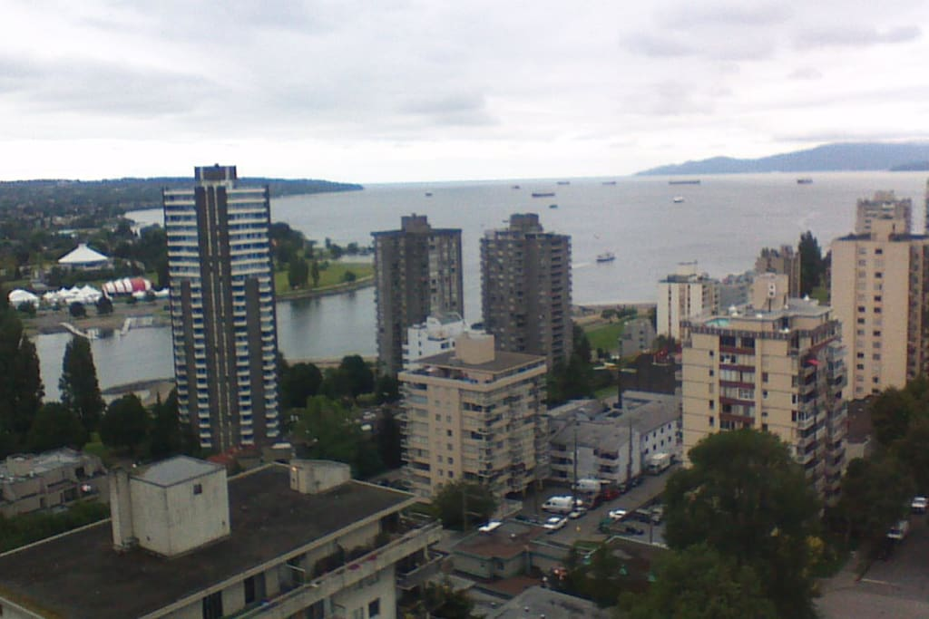 English Bay view with islands beyond the horizon.