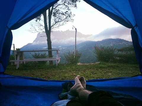 Camping with the view of Mount Kinabalu