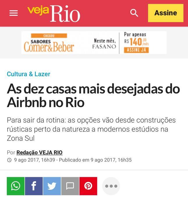 Oitavo lugar entre as 10 casas mais desejadas do estado do Rio de Janeiro pela Veja Rio.