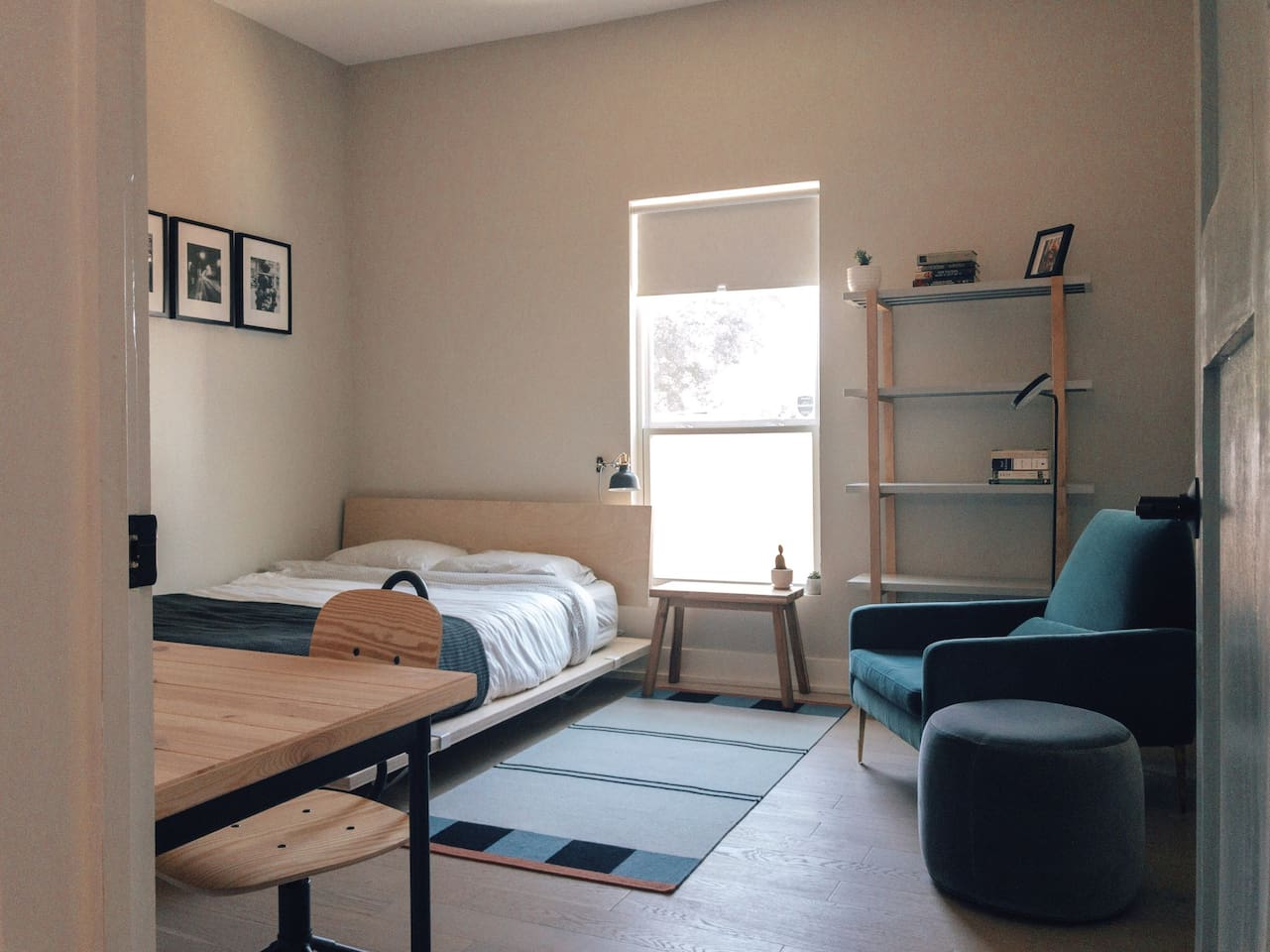 Modern and clutter free private bedroom and shared bathroom.