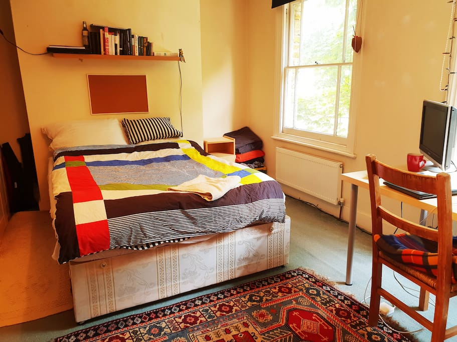 A cosy an spacious room containing a Queen size bed, Desk and Tv.