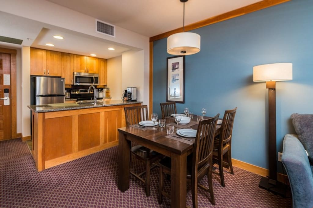 Entertain and dine at the large dining table with seating for everyone.
