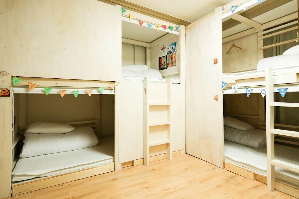 each bed is designed for traveler