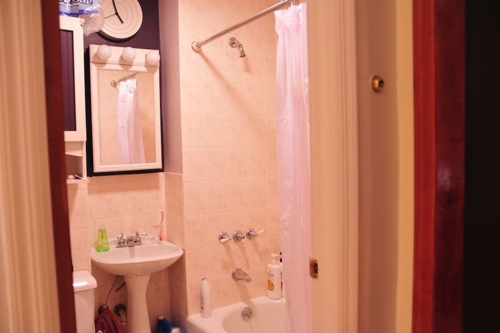 Bathroom with sink, toilet and bathtub. Towels are provided. We have shampoo, conditioner, shower gel, and toothpaste. Hair dryer available upon request. This bathroom is shared between 1 guest and the host.