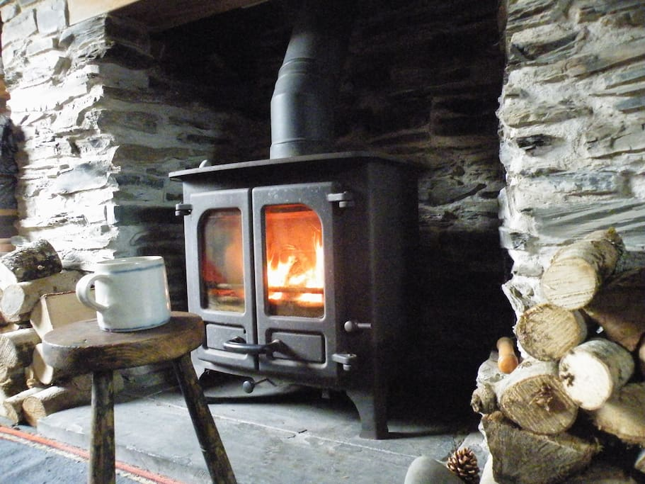 Wood burning stove in the living room.