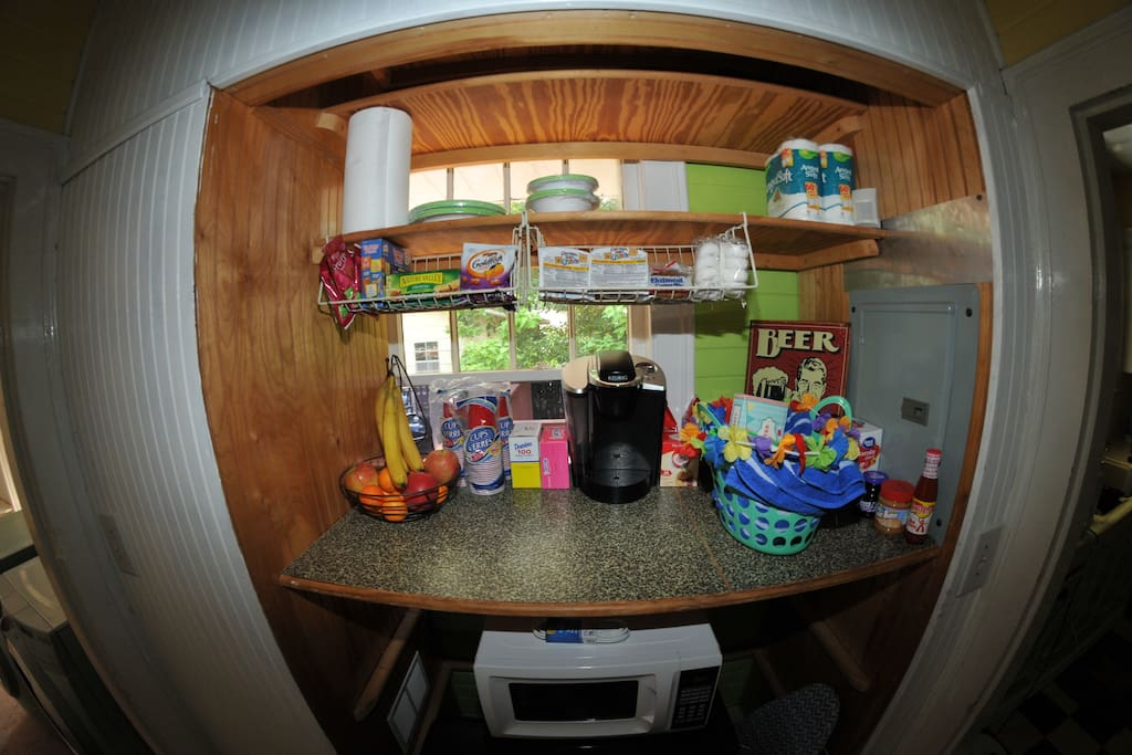 Kitchenette area Kali like to stock with snacks, candy, and Kcups for coffee